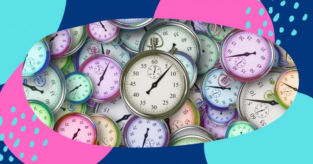 Colorful collage featuring image of several clocks